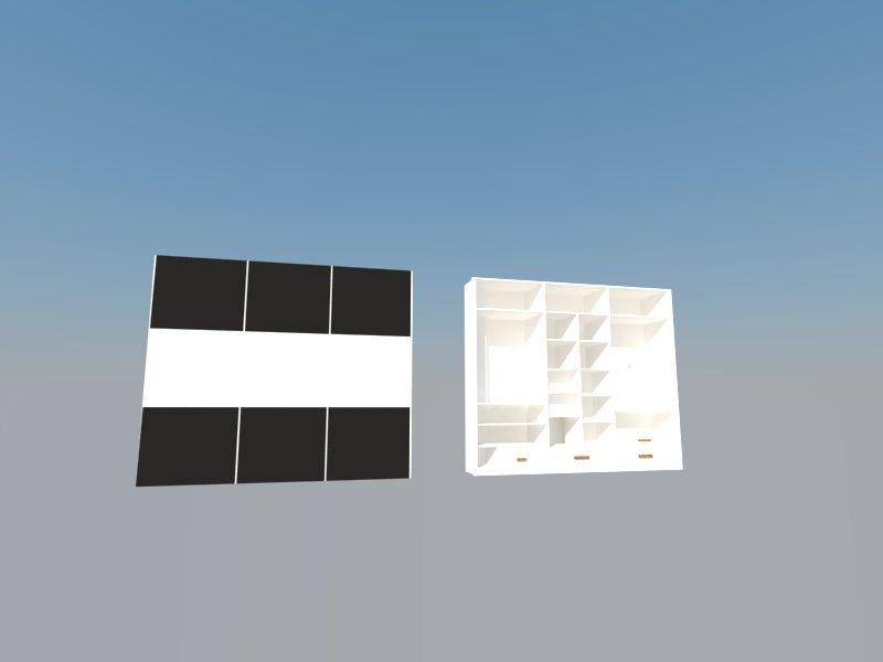 Diseño en 3d de armario vista frontal e interior