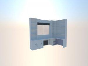 Diseño en 3d de estantería libreria