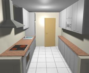 Perspectiva en 3d de diseño previo de cocina