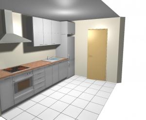 Viendo el resultado en 3d de montaje de cocina