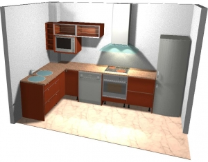Diseño previo en 3d para cocina