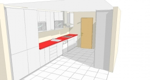 diseño previo en 3d para fabricación de cocina