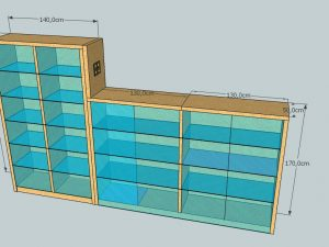 Diseño en 3d de mueble vitrina de madera