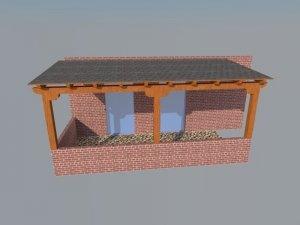 Diseño en 3d de pérgola para porche de entrada