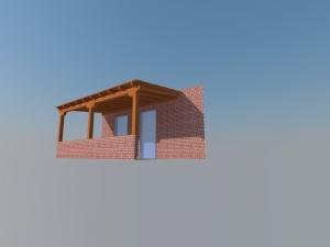 Diseño 3d de pérgola de madera