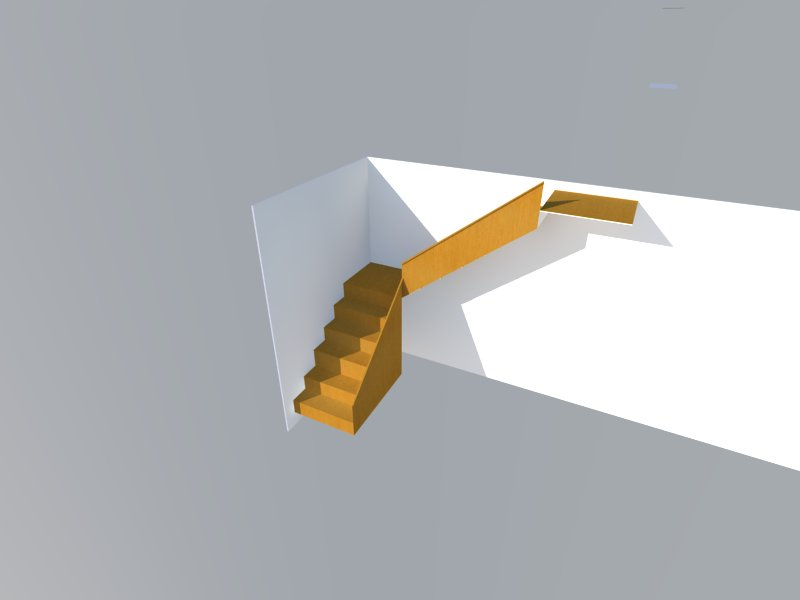 Diseño 3d de escaleras de madera para casa