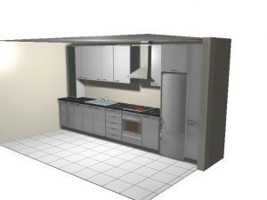 diseño en 3d previo para fabricar cocina