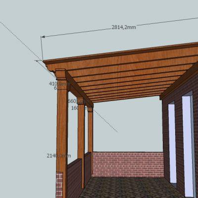 Diseño 3d y medidas de pérgola de madera